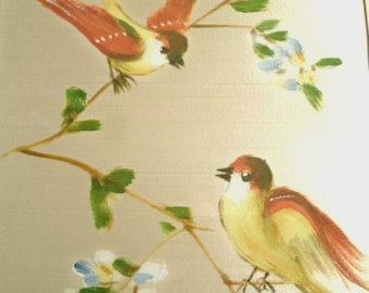 Painting On Silk Original Art Spring Birds Bird With Flowers Trees Large Framed Vintage Cream Yellow Red Green Blue Signed By Artist
