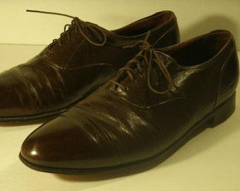 Vintage Florsheim Royal Imperial Oxford Shoes Brown Leather Cap Toe Leather Sole Casual Dress Shoes Men's Size 8