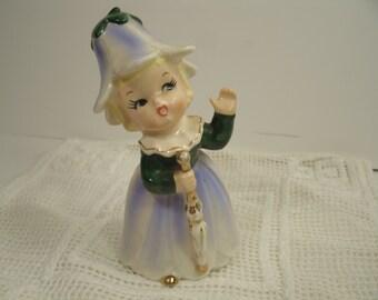 Flower Blossom Hat Ceramic Figurine Vintage 1950's Flower Of The Month Cute Sweet Garden Fairy Girl Petal Skirt Cap Blue Bell Napco