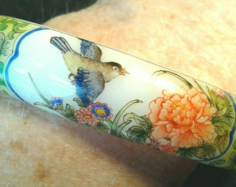 Vintage Glass Bangle Hand Painted Bracelet Birds Flowers Flora Fauna Signed By Artist White Milkglass Jewelry Songbird Flower Cottage Chic