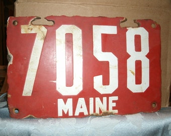 Antique Red Porcelain License Plate First Maine Plate Used 1905 to 1910 Vintage Automobile Memorabilia Car Auto Man Cave Garage Collectable