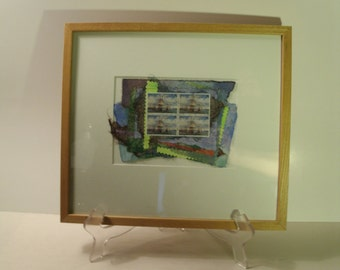 Original Collage Art Hand Made Paper Guernsey Postage Stamps Sewn Threads By Maine Artist Linden O'Ryan Signed Framed England Great Britain