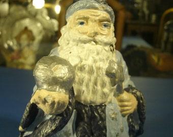 Vintage Chalkware Wizard Hand Painted Figurine Statue Magic Hat Robe Wand Crystal Ball Beard Magician Figure Fairy Garden Decor Decoration