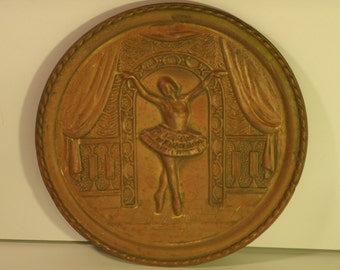 Brass Wall Plaque Plate Dancing Ballerina Dancer Ballet Copper Finish Vintage Lombard England Metal Wall Hanging