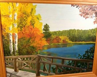 Original Painting Fall Autumn Scene Landscape Large  Framed Yellow Orange Blue Trees Water Lake Fence Vintage 1970s Art Signed Lynda Sprague