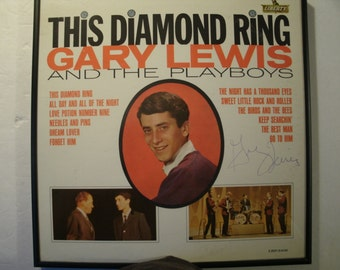 Hand Signed Gary Lewis And The Playboys This Diamond Ring Album Cover Only Jerry Lewis Vintage 1960's Autographed Rock Music Autograph