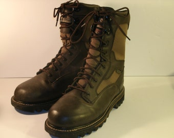 Red Wing Brown Leather Fabric Panels Insulated Mid Calf Waterproof Lace Up Ruber Tread Irish Setter Work Combat Boots Men's US Size 9
