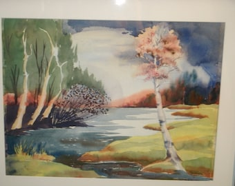Original Watercolor Framed Painting Landscape Waterscape Trees Sky Birch Tree Bright Vivid Vintage Hand Signed Maine Artist Bernie Beckman
