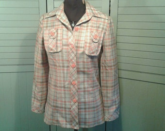 1960's Shirt Jacket Pointed Collar Orange Tan Plaid Button Lightweight Spring Vintage Mid Century Retro The Villager Womens Small Medium