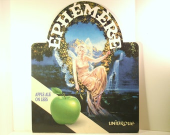 Beer Poster Advertising Art Vintage Large Canadian Unibroue Ephemere Apple Ale Cardboard French Language Sign Beautiful Fairy Girl Mountain