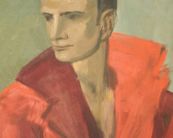 Original Painting Male Portrait Large Vintage Modern Art Stretched Canvas Signed Artist Steve Dorland Red Shirt Green Yellow George Daniel