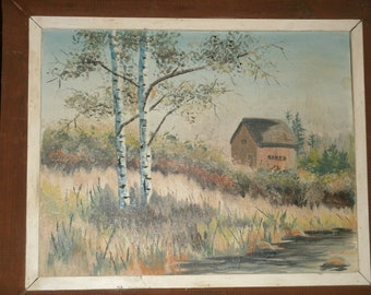 Landscape Painting Riverbank Birch Trees Cabin By Maine Artist Neves Framed