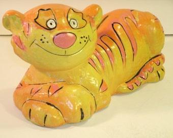 Vintage Tiger Bank Large Retro 1960's Paper Mache Fun Animal Figurine Statue Painted Orange Yellow Pink Black Stripes Happy Smiling Cat Toy
