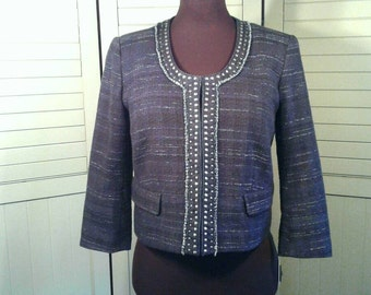 Ann Taylor Cropped Studded Blazer Jacket Scoop Neckline Dark Blue Woven Variegated Fabric Hip Classic Business Clothing Women's Size 10
