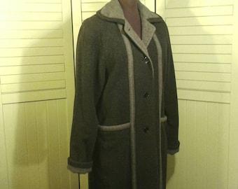 Full Length Hermen Geist Wool Maxi Coat Grey Dark Light Two Tone Trench Overcoat Made In Russia Russian Women's Size 6 Small