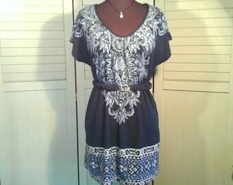 Jump Boho Dress Belted Elastic Waist Tribal Indigo Light Blue Stretch Poly Spandex Blend Scoop Neck Cap Sleeve Women's Size Large