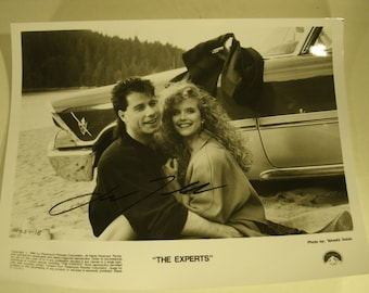 Autographed Photo John Travolta The Experts Movie Set 1989 Co Star Kelly Preston Original Paramount Studios Handout Signed Picture