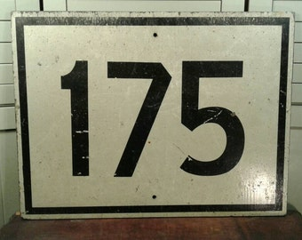Wooden Road Sign Large Painted Black White Street Route Highway 175 Vintage Wood Cars Traveling Driving Garage Wall Mancave Dorm Decor