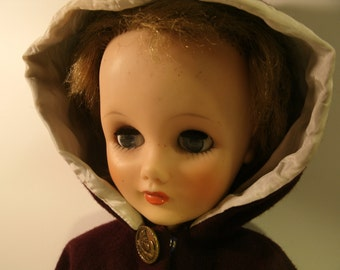 """Vintage Doll And Clothes Mid Century Wool Cape Sun Dress Sleep Eyes Antique Metal Poseidon Buttons Molded Plastic 19"""" Pretty Face Dolls Toys"""