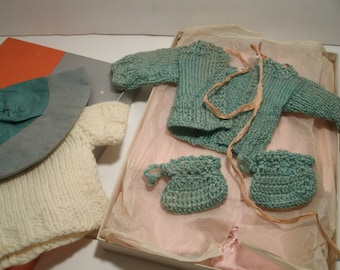 11 Pc Vintage Doll Clothing Sweaters Booties Cap Hat Hood Layette Mittens Pants Antique Dolls Toys Handmade Hand Knit 1930's 1940's