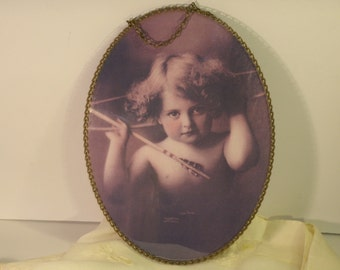 Oval Frame Cupid Awake Antique 1897 Photograph Rose Sepia Beautiful Child Arrows Love Photo Gold Tone Metal Chain Frame Reproduction Print