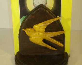 Vintage Pair Wood Bird Bookends Carved Wood Swallow Birds Arch Book End Pair