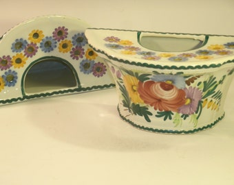 French Pottery Hand Painted Floral Vase Pair Set Semi Circle Round Flower Holder Frog Table Decor Vintage Made In France Cottage Chic