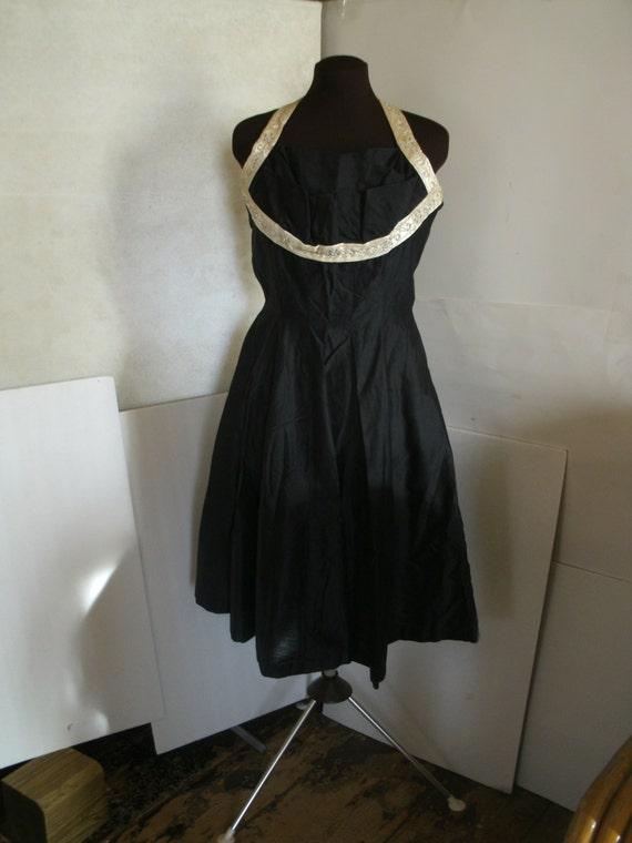 1950's Natlynn Originals Black Halter Dress With S