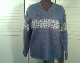 Eddie Bauer Lambswool Cardigan Sweater Vintage Military Blue Grey V Neck Pullover Nordic Border Design Soft Warm  Men's Size Medium