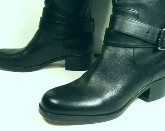 Knee High Via Spiga Black Leather Buckle Ankle Strap Strappy Italian Boots Pull On Equestrian Style Quality Tall Women's Size US 6