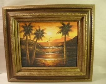 Original Painting Ocean Seascape Sunset Tropical Birds Orange and Yellow Framed