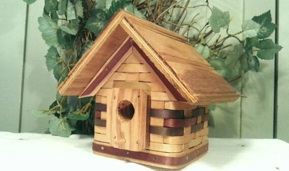 Basket Bird House Woven Wood Slats Natural Finish Wooden