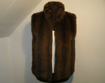 Faux Fur Reversible Vest Variegated Brown Black Mink Zip Front Plush Warm Jacket Stand Up Collar Vegan Clothing Women's Size Small