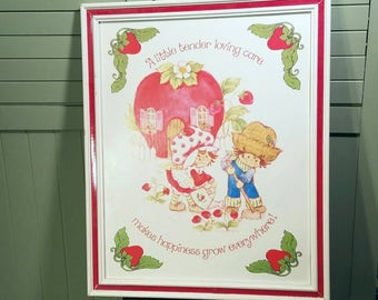 Large 18 x 22 Strawberry Shortcake Framed Print Vintage 1980's Happy Saying Cute Art Picture Girl Boy Room Decor Painted Wood Frame Retro