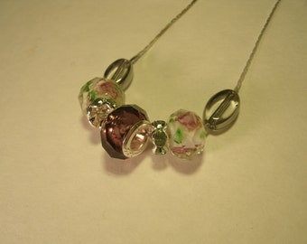 Sterling Silver Core Murano Glass Beaded Necklace Handmade Faceted Beads Colored Floral Amethyst Pink Green Bead New Chain Necklace