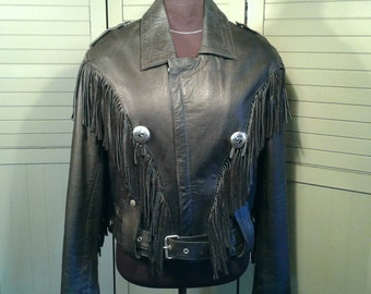 Tecone Biker Leather Fringed Silver Concho Heavy Vintage Belted Black Jacket Motorcycle Hipster Rocker Men's Size 42 Large