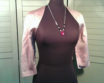 Vintage 1930's Bolero Shawl Cropped Jacket Pink Satin 3/4 Sleeves Unique Antique Retro Clothing Hipster Sweater Women's Size Medium Small