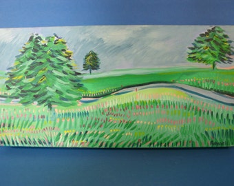 Original Painting Landscape Flowers Tulips Pine Trees Blue Green Pink Red Winding Road Fields Stretched Canvas Signed By Artist Rowell