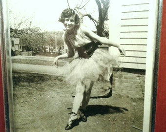 Original Vintage Dancing Girl Photograph Black And White 5 x 7 Tutu Ballet Slippers Curtsy Cute Pretty Woman Bobbed Hair Big Smile Red Frame
