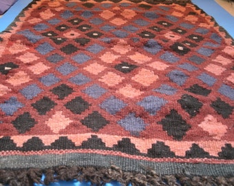 Handmade Woven Rug Vintage Geometric Earth Tones Rust Maroon Red Blue Black Orange Brown Umber Wool Area Floor Mat Wall Hanging Fabric Art