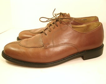 """Alfani Oxfords Italian Caramel Brown Stitched Toe Leather Sole Lining 1"""" Heel Business Casual Dress Designer Fashion Shoes Men's US Size 10"""