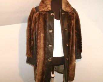Vintage 1960's Fur Coat Leather Trim Car Coat Length Metal Toggle Quality Haber Morristown NJ Women's Mid Century Genuine Jacket
