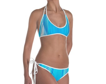 0f4c6a462a646 Two Piece Bikini up to 3XL Blue White Abstract Art
