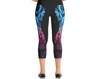 8ab15b8d7e8b3 Blue Fushia Pink Abstract Art Mermaid Dreams Custom Capri Leggings Dancer  Gym Running Pants