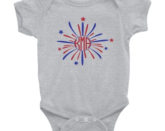 Personalized Monogrammed Fourth of July Red White Blue Fireworks Infant Bodysuit