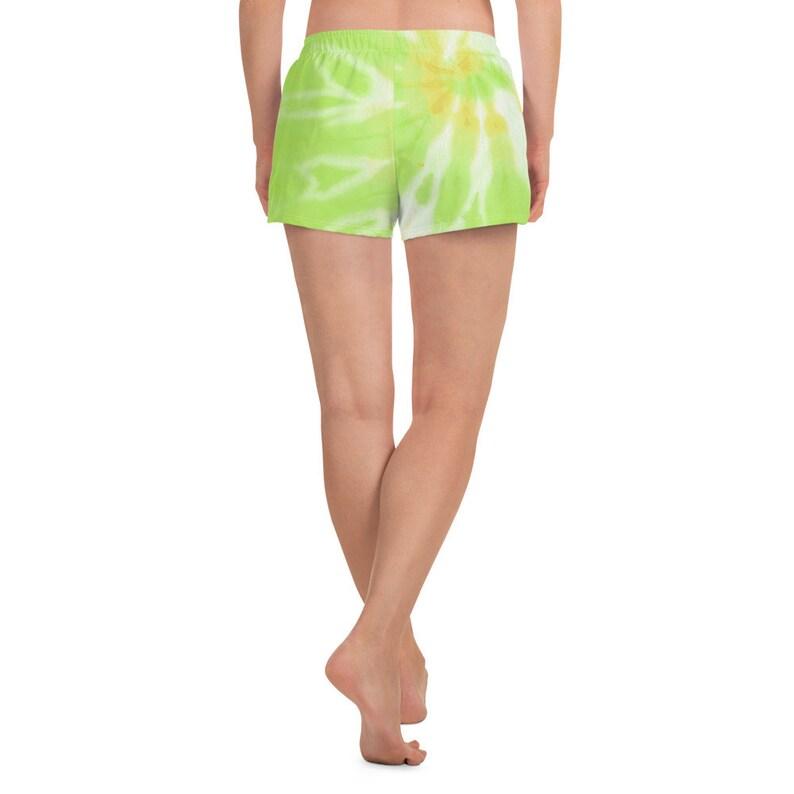 Women/'s Athletic Short Shorts Lime Green Yellow Digital Tie Dye Running Swimming