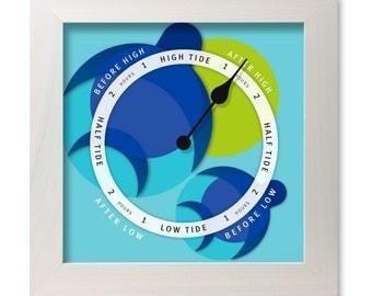 Turtle design tide clock, nautical chart, hang or stand, tideclock
