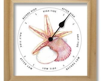 Shells illustration tide clock, nautical chart, hang or stand, tideclock