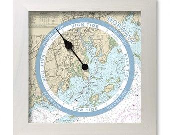 Tide clock, nautical chart, custom for any coast, hang or stand