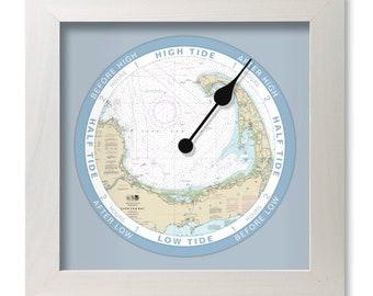 Cape Cod Bay tide clock, nautical chart, hang or stand, wood frame, gift idea